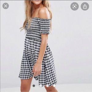 Gingham checkered off shoulder dress in blue